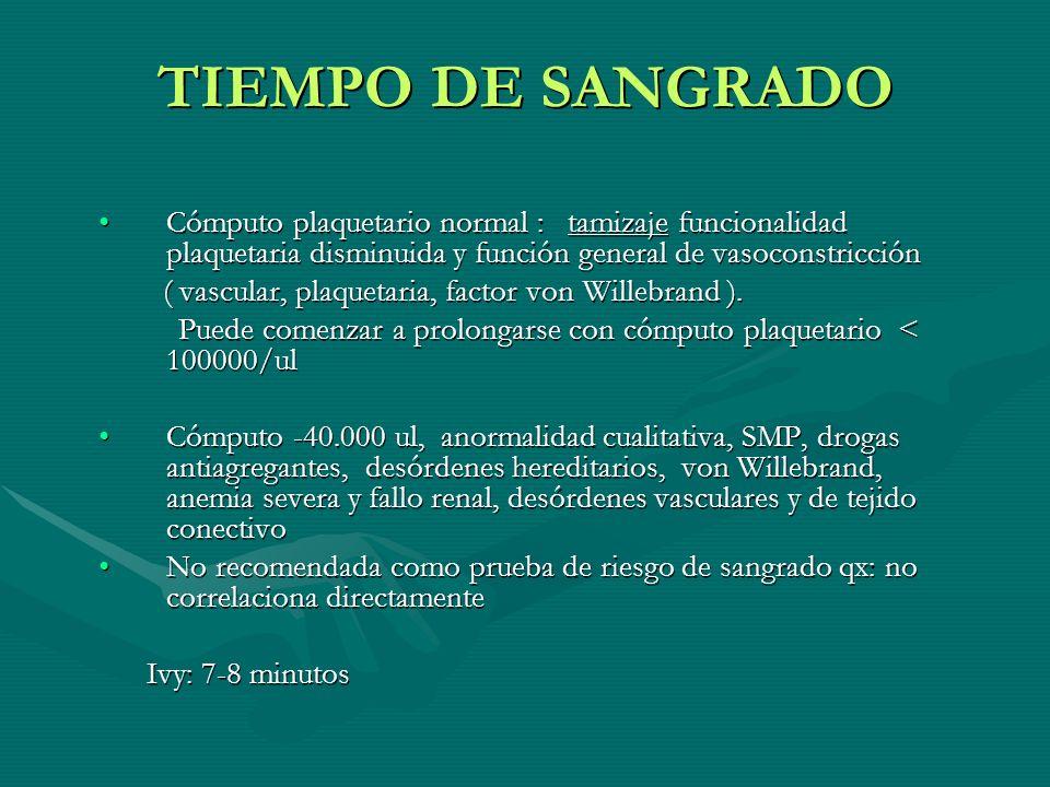 TIEMPO DE SANGRADOCómputo plaquetario normal : tamizaje funcionalidad plaquetaria disminuida y función general de vasoconstricción.
