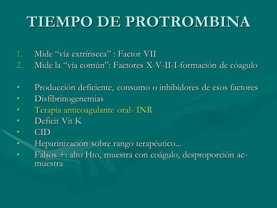 TIEMPO DE PROTROMBINA Mide vía extrínseca : Factor VII