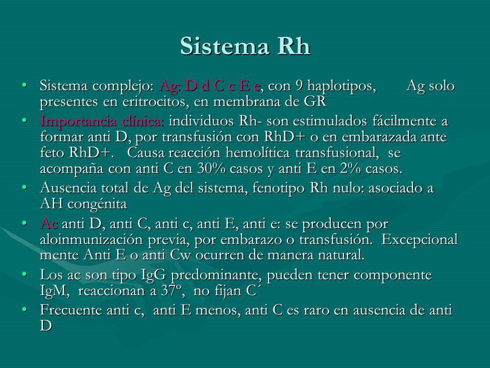 Sistema Rh Sistema complejo: Ag: D d C c E e, con 9 haplotipos, Ag solo presentes en eritrocitos, en membrana de GR.