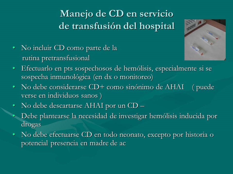 Manejo de CD en servicio de transfusión del hospital