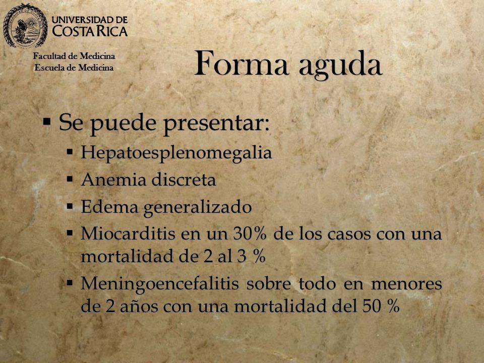 Forma aguda Se puede presentar: Hepatoesplenomegalia Anemia discreta