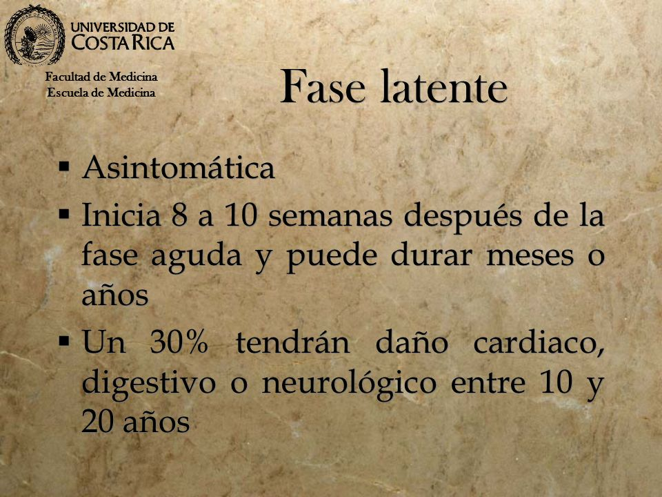 Fase latente Asintomática