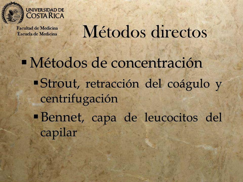 Métodos directos Métodos de concentración