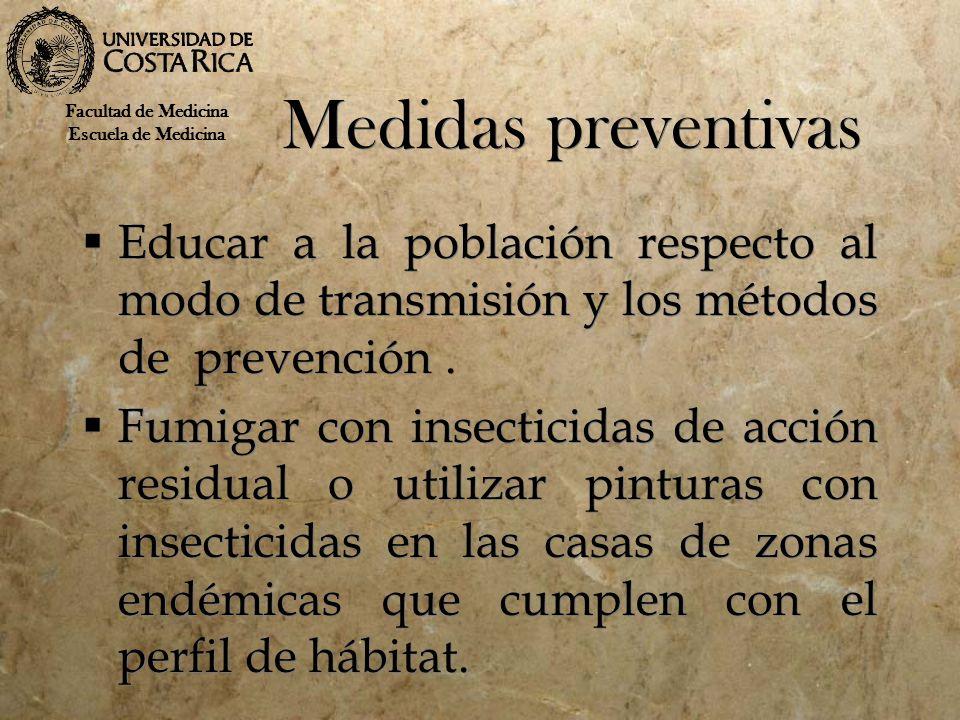 Medidas preventivas Facultad de Medicina. Escuela de Medicina. Educar a la población respecto al modo de transmisión y los métodos de prevención .