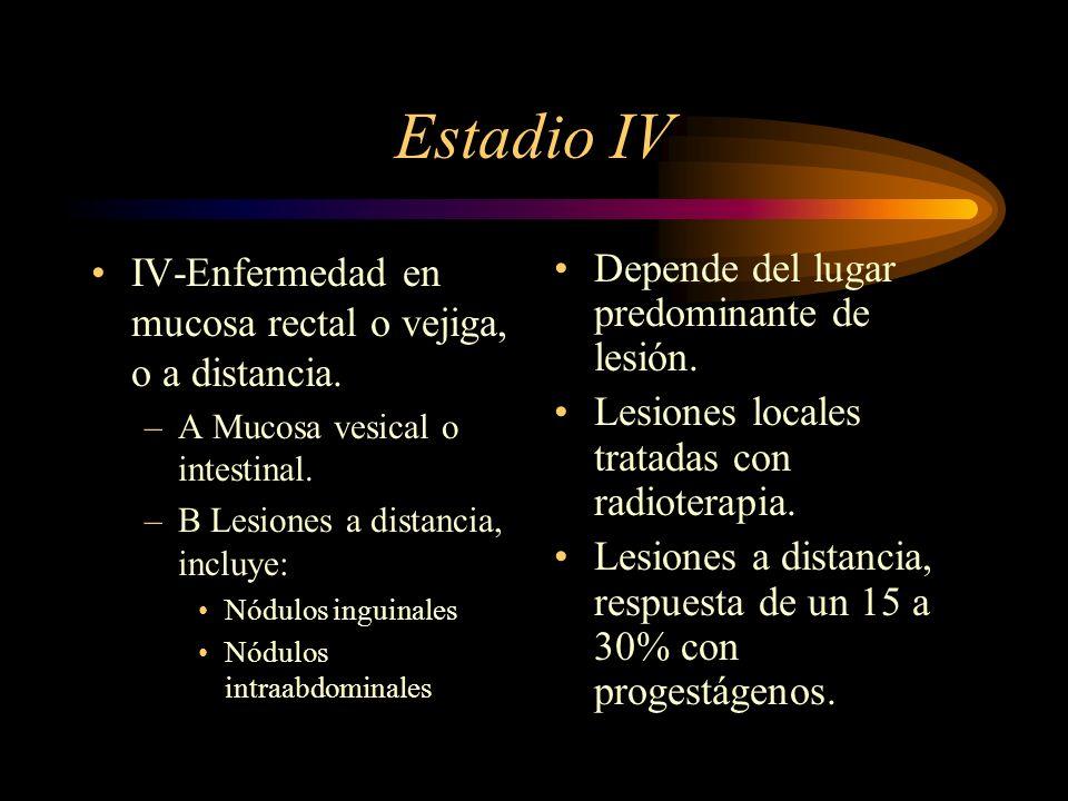 Estadio IV IV-Enfermedad en mucosa rectal o vejiga, o a distancia.