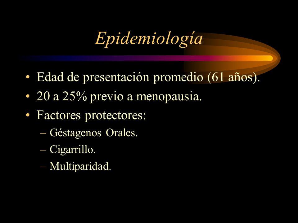 Epidemiología Edad de presentación promedio (61 años).