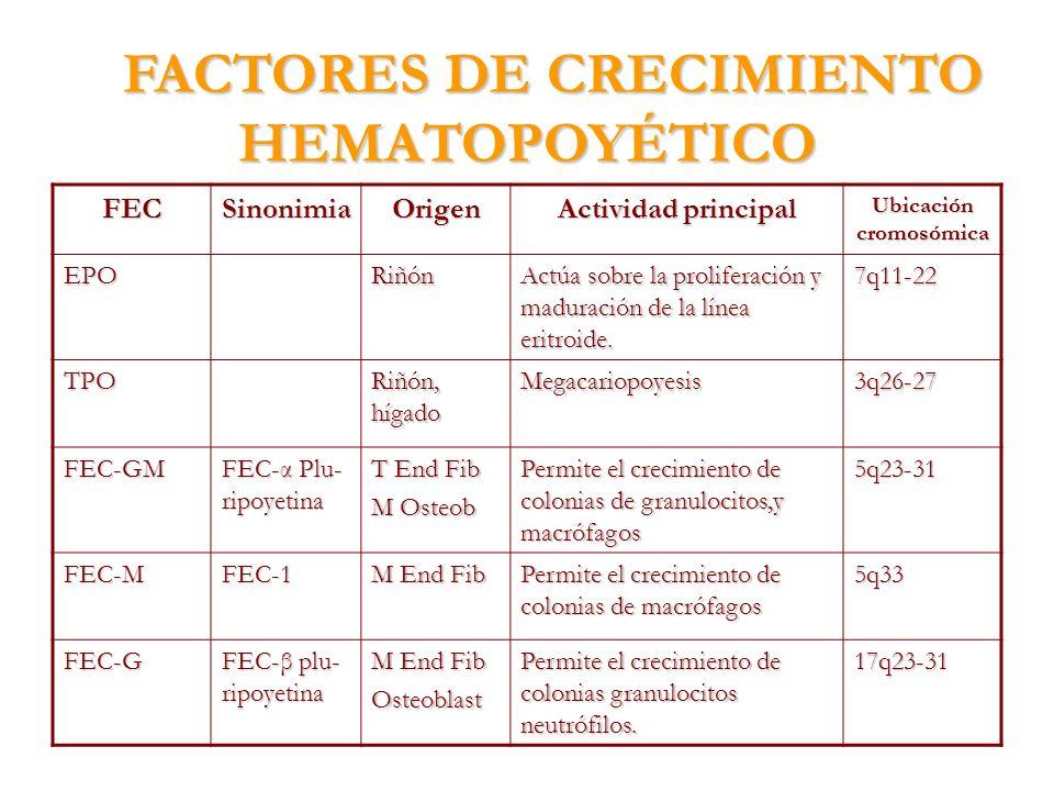 FACTORES DE CRECIMIENTO HEMATOPOYÉTICO