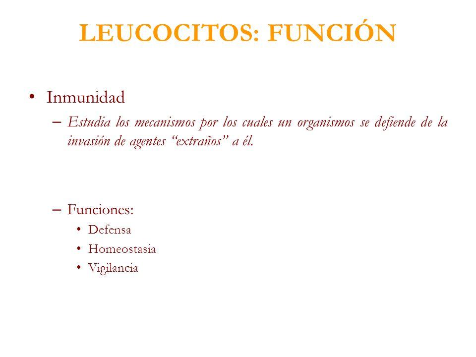 LEUCOCITOS: FUNCIÓN Inmunidad
