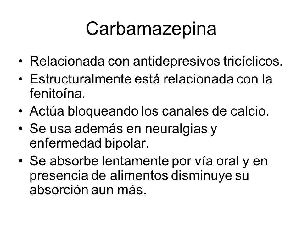 Carbamazepina Relacionada con antidepresivos tricíclicos.