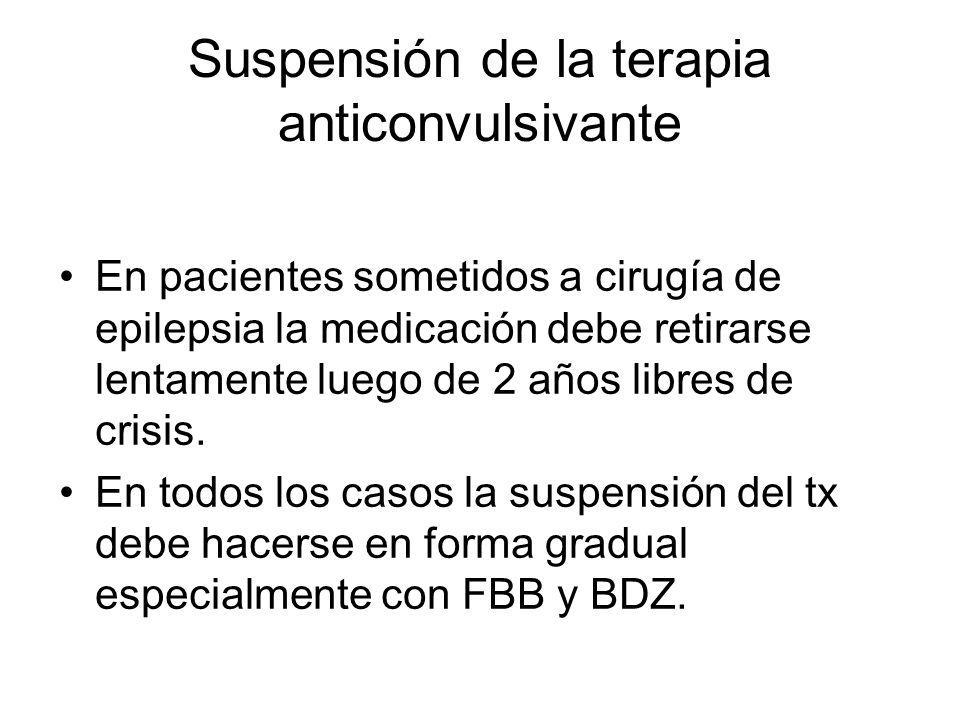 Suspensión de la terapia anticonvulsivante