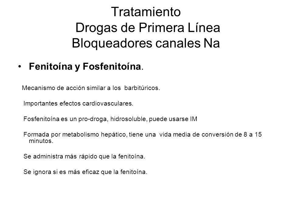 Tratamiento Drogas de Primera Línea Bloqueadores canales Na