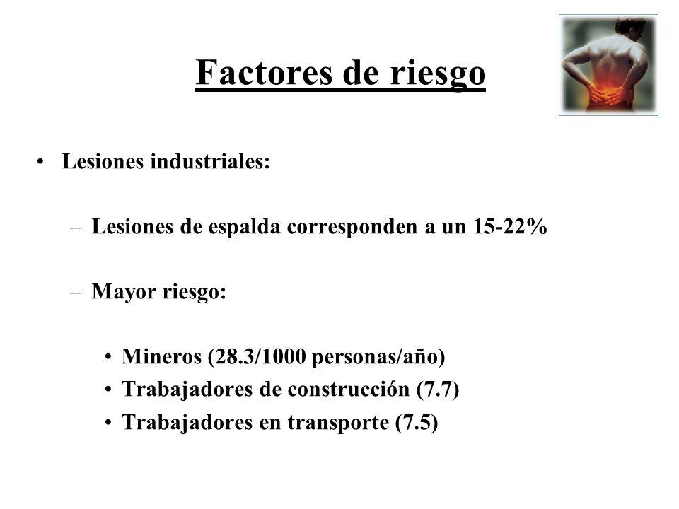 Factores de riesgo Lesiones industriales: