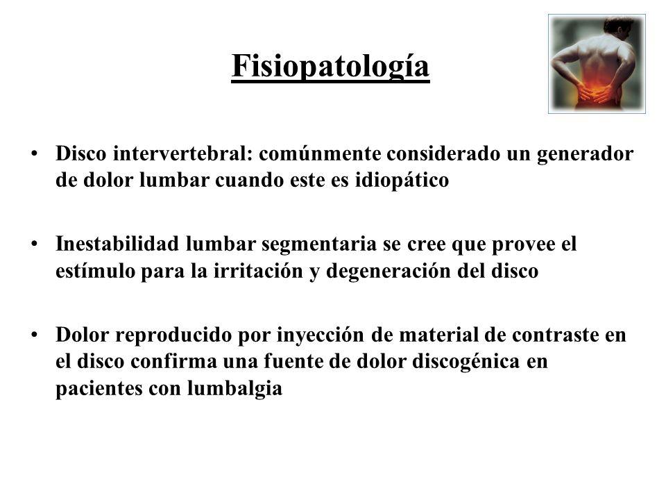 Fisiopatología Disco intervertebral: comúnmente considerado un generador de dolor lumbar cuando este es idiopático.
