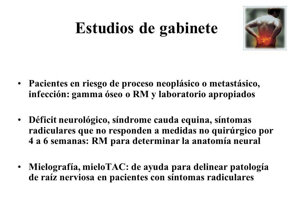 Estudios de gabinetePacientes en riesgo de proceso neoplásico o metastásico, infección: gamma óseo o RM y laboratorio apropiados.