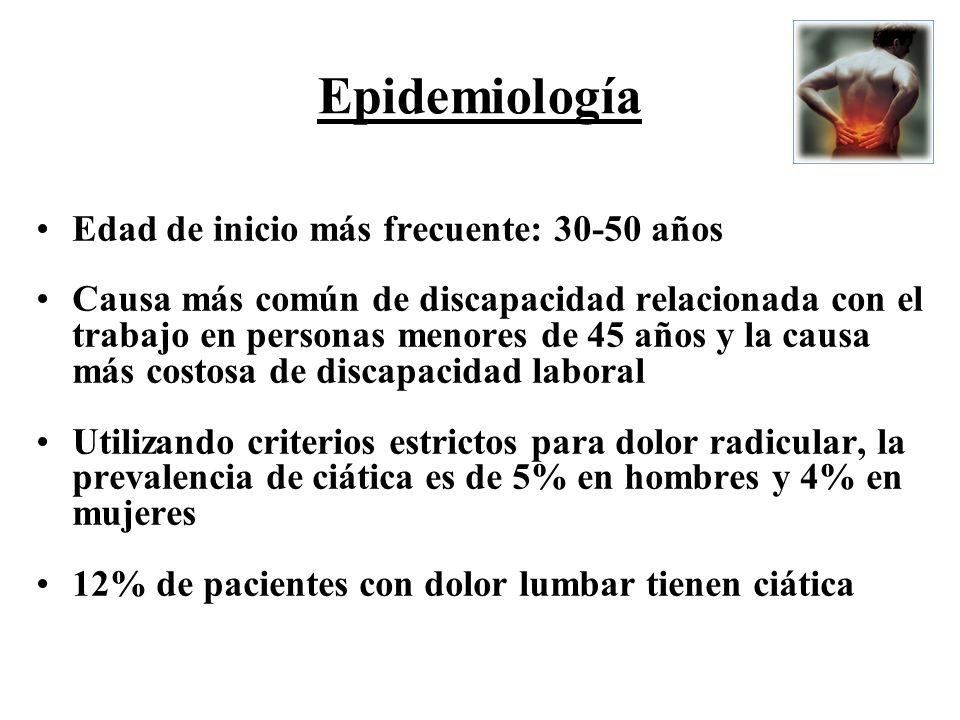 Epidemiología Edad de inicio más frecuente: 30-50 años