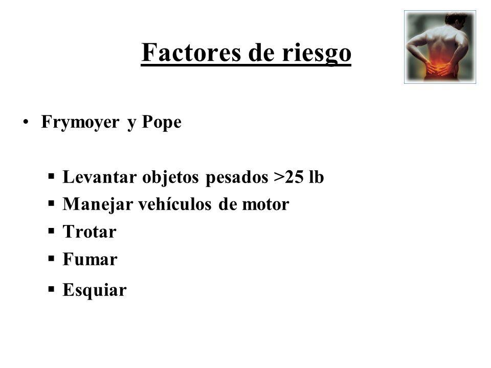Factores de riesgo Frymoyer y Pope Levantar objetos pesados >25 lb