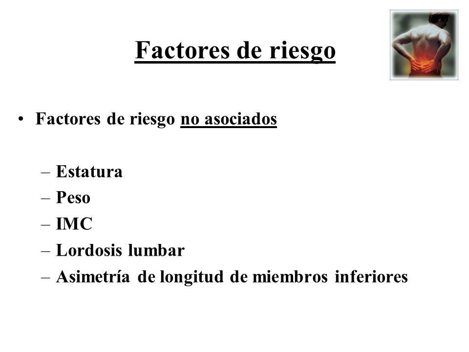Factores de riesgo Factores de riesgo no asociados Estatura Peso IMC