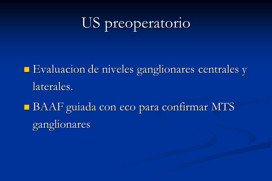 US preoperatorio Evaluacion de niveles ganglionares centrales y laterales.