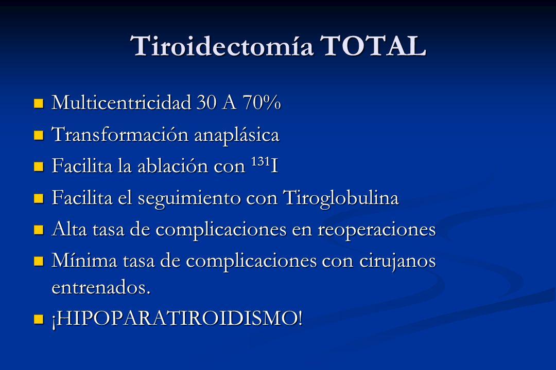 Tiroidectomía TOTAL Multicentricidad 30 A 70%