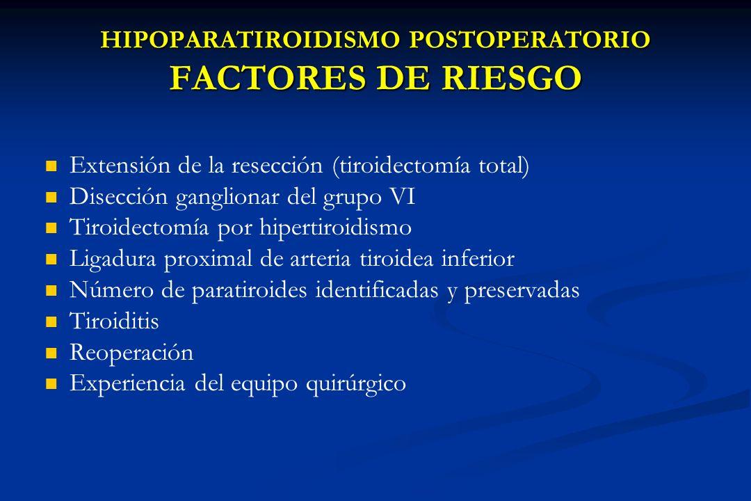 HIPOPARATIROIDISMO POSTOPERATORIO FACTORES DE RIESGO