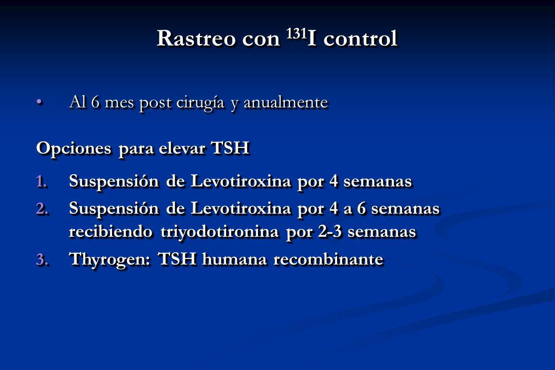 Rastreo con 131I control Al 6 mes post cirugía y anualmente