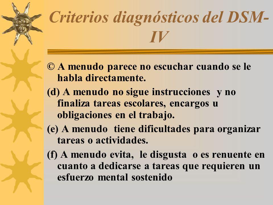 Criterios diagnósticos del DSM-IV