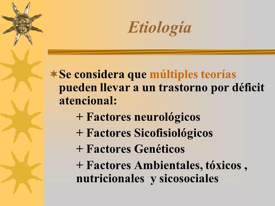 Etiología Se considera que múltiples teorías pueden llevar a un trastorno por déficit atencional: + Factores neurológicos.