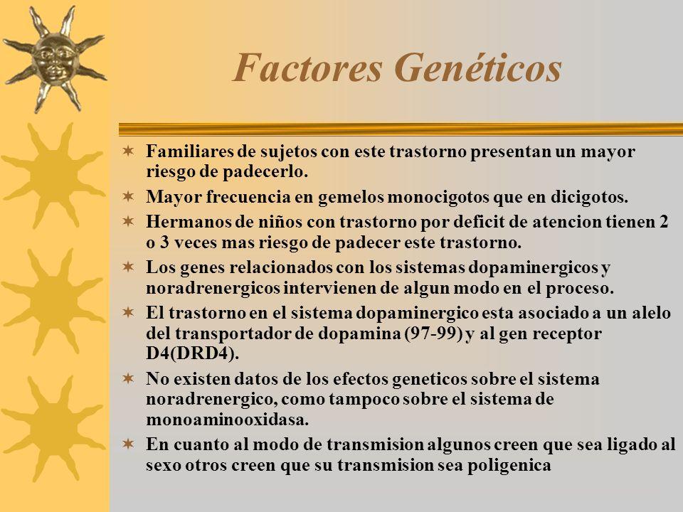 Factores Genéticos Familiares de sujetos con este trastorno presentan un mayor riesgo de padecerlo.