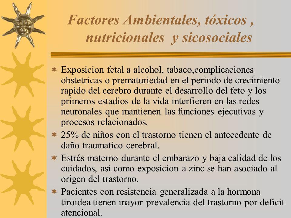 Factores Ambientales, tóxicos , nutricionales y sicosociales