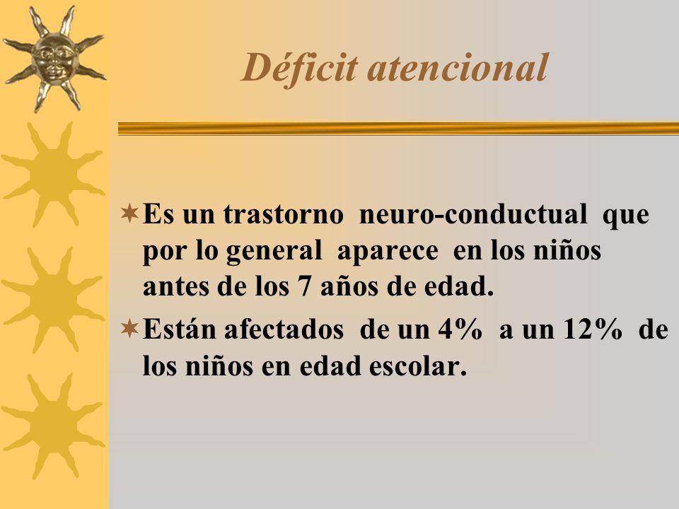 Déficit atencional Es un trastorno neuro-conductual que por lo general aparece en los niños antes de los 7 años de edad.
