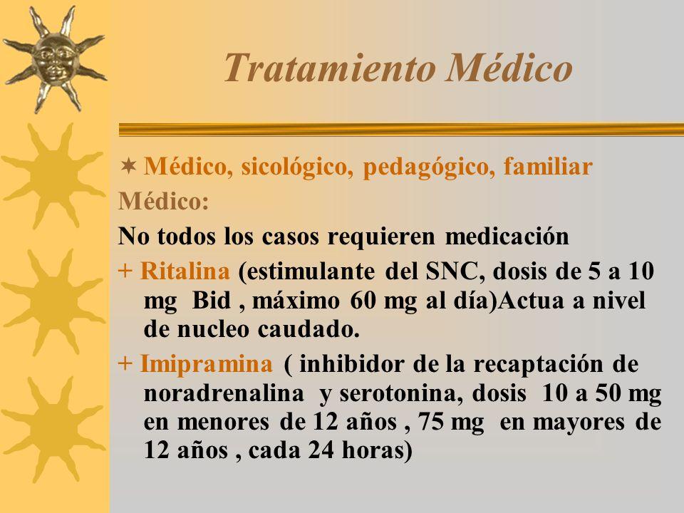 Tratamiento Médico Médico, sicológico, pedagógico, familiar Médico:
