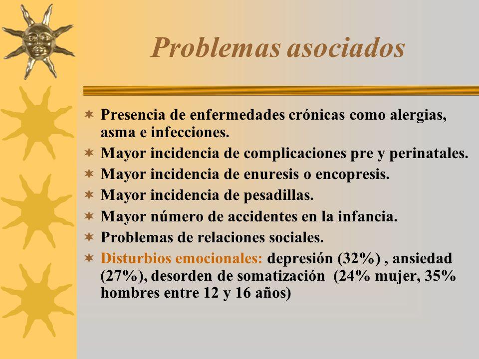 Problemas asociadosPresencia de enfermedades crónicas como alergias, asma e infecciones. Mayor incidencia de complicaciones pre y perinatales.