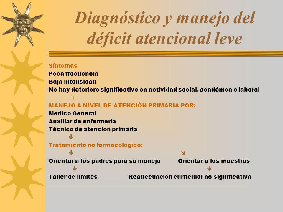 Diagnóstico y manejo del déficit atencional leve