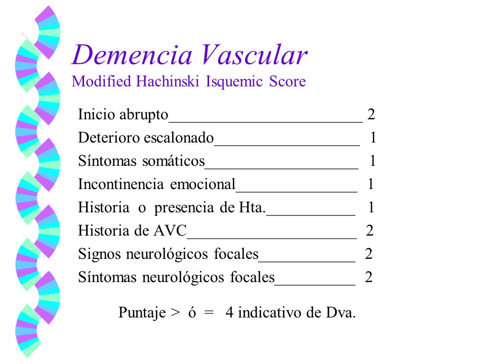Demencia Vascular Modified Hachinski Isquemic Score