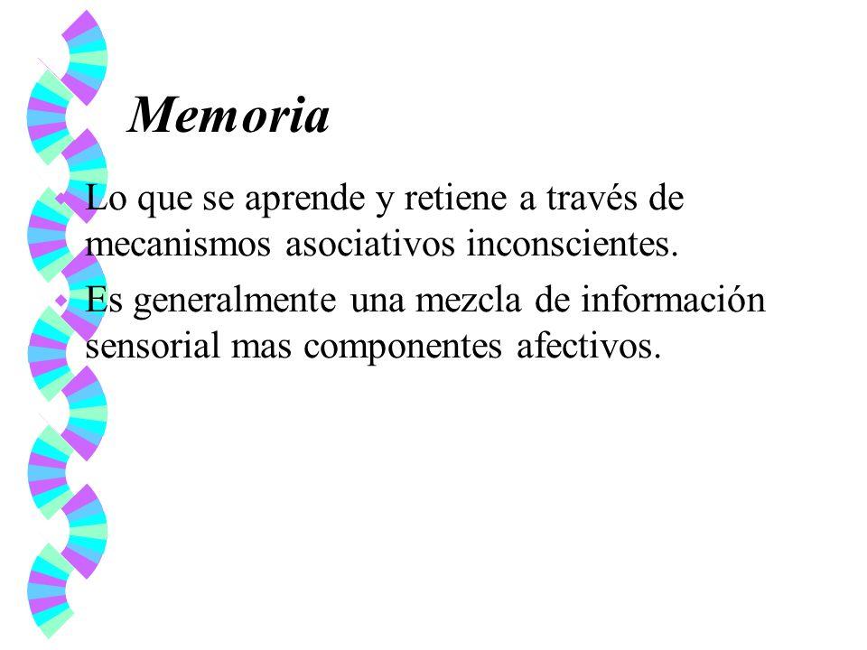Memoria Lo que se aprende y retiene a través de mecanismos asociativos inconscientes.