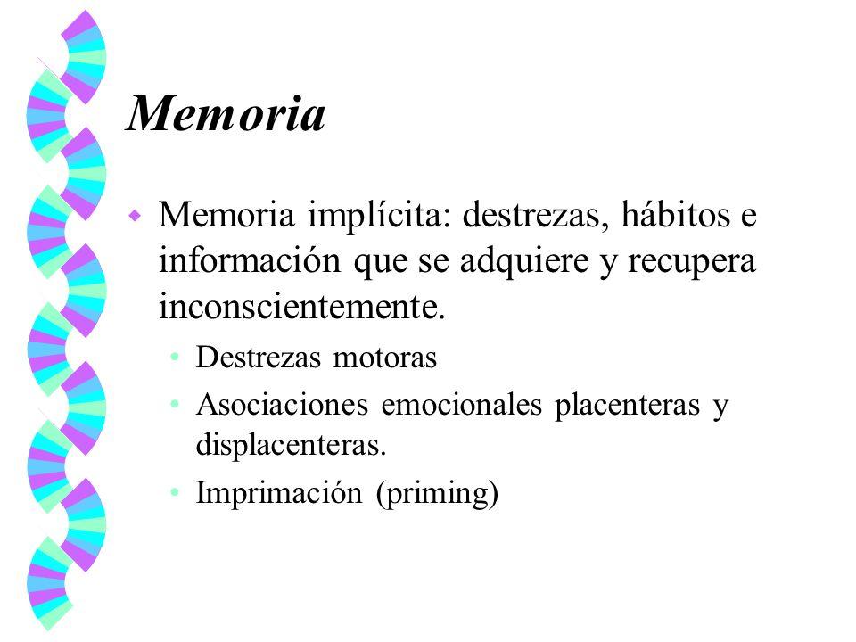 Memoria Memoria implícita: destrezas, hábitos e información que se adquiere y recupera inconscientemente.