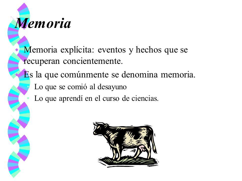 Memoria Memoria explícita: eventos y hechos que se recuperan concientemente. Es la que comúnmente se denomina memoria.