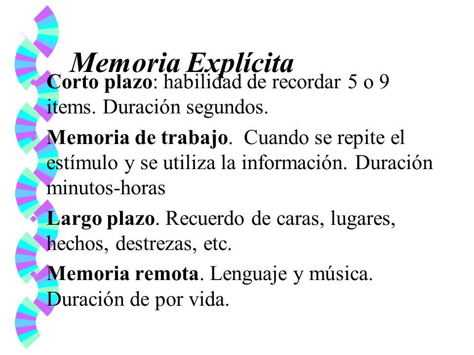 Memoria Explícita Corto plazo: habilidad de recordar 5 o 9 items. Duración segundos.