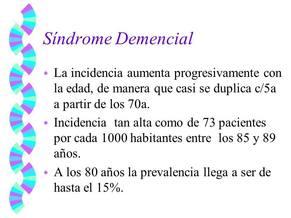 Síndrome Demencial La incidencia aumenta progresivamente con la edad, de manera que casi se duplica c/5a a partir de los 70a.