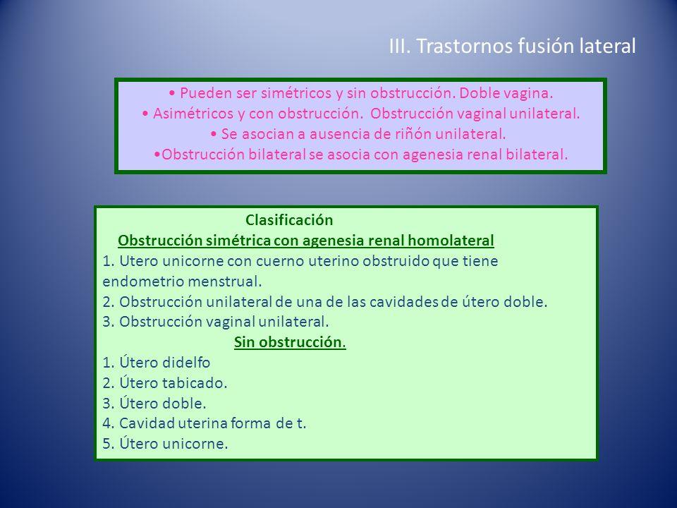 III. Trastornos fusión lateral