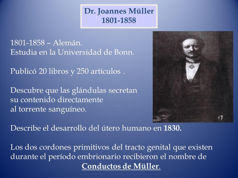 Dr. Joannes Müller1801-1858. 1801-1858 – Alemán. Estudia en la Universidad de Bonn. Publicó 20 libros y 250 artículos .