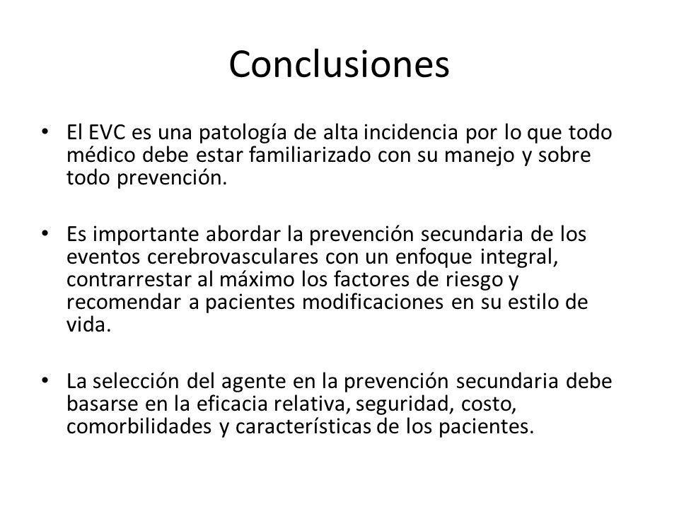 Conclusiones El EVC es una patología de alta incidencia por lo que todo médico debe estar familiarizado con su manejo y sobre todo prevención.
