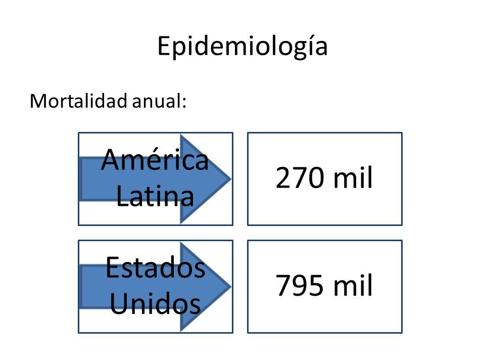 Epidemiología Mortalidad anual: América Latina 270 mil Estados Unidos