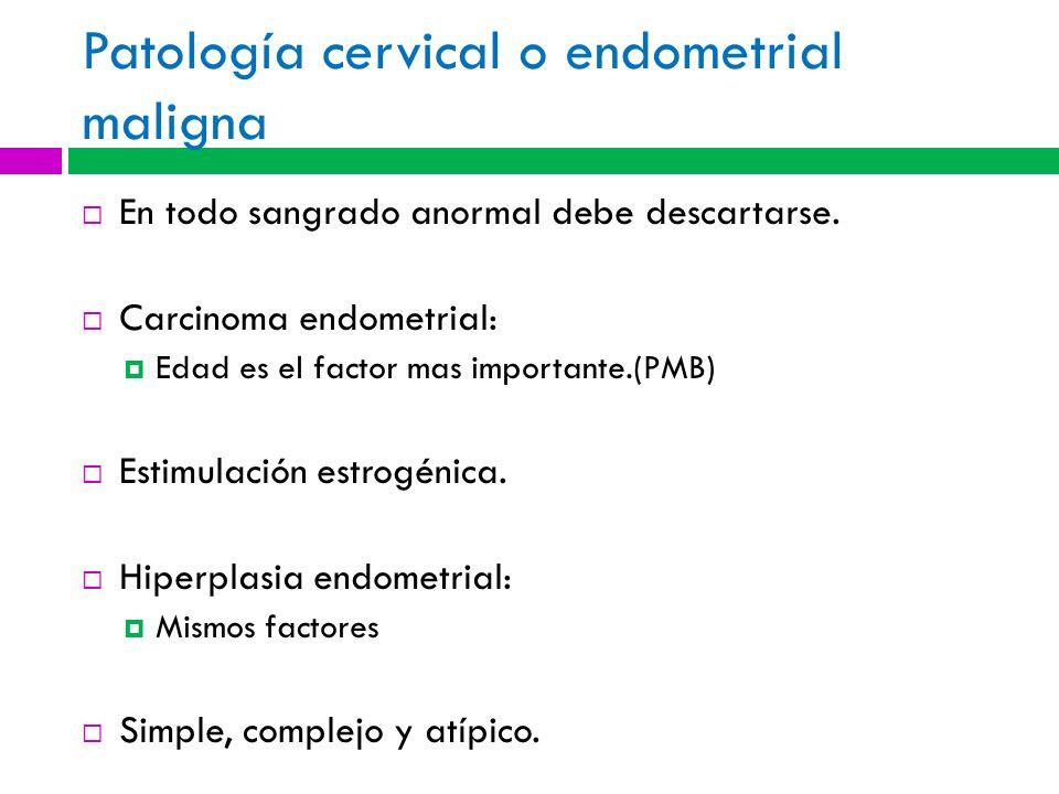 Patología cervical o endometrial maligna
