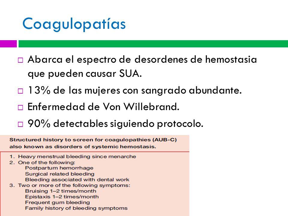 CoagulopatíasAbarca el espectro de desordenes de hemostasia que pueden causar SUA. 13% de las mujeres con sangrado abundante.