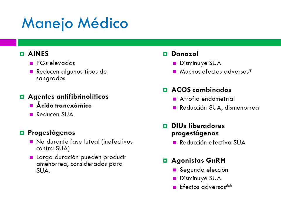 Manejo Médico AINES Agentes antifibrinolíticos Progestágenos Danazol