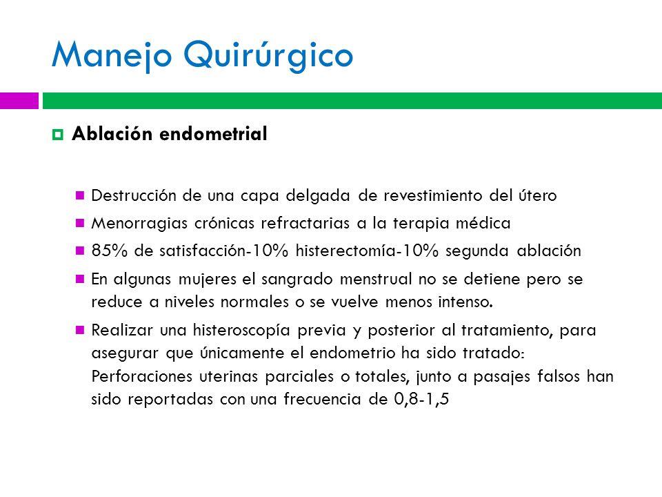 Manejo Quirúrgico Ablación endometrial