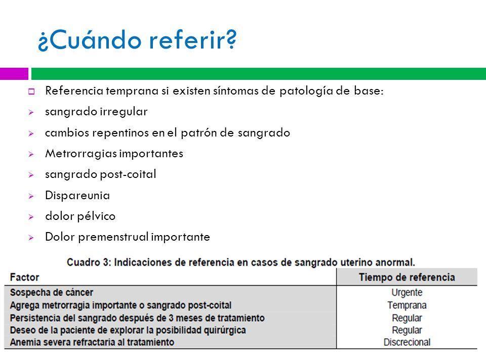¿Cuándo referir Referencia temprana si existen síntomas de patología de base: sangrado irregular.