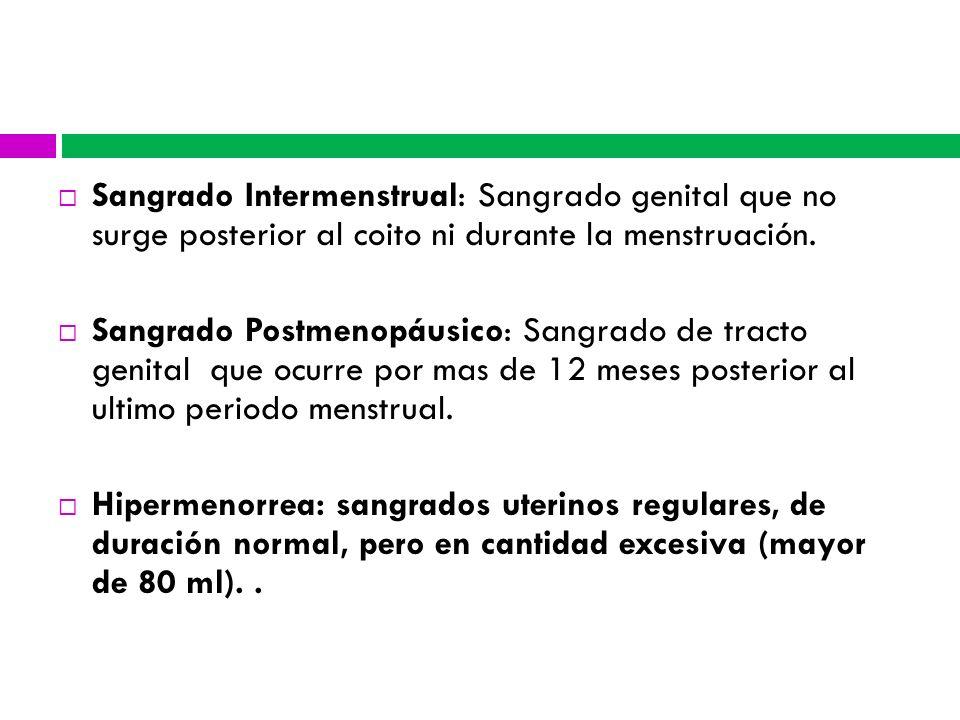 Sangrado Intermenstrual: Sangrado genital que no surge posterior al coito ni durante la menstruación.