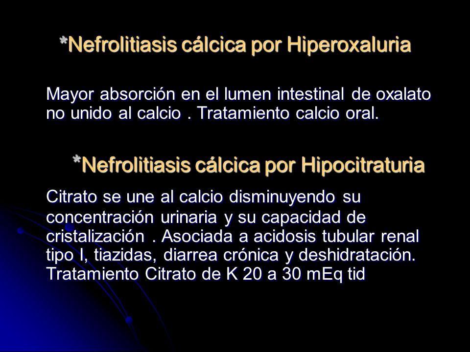 *Nefrolitiasis cálcica por Hiperoxaluria